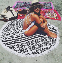 Hot! Polyester Round Beach Towel Beautiful National Wind Pattern Printing Beach Blanket Swim Brand Towel With Tassels 150*150cm