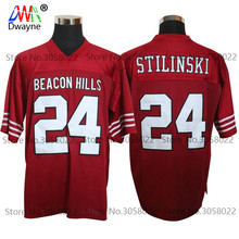 Cheap American Football Jerseys #24 Stiles Stilinski TEEN WOLF TV Series Throwback jerseys Retro Red Stitched Shirt for Mens(China)