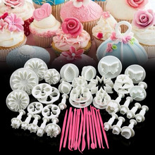 47 Pcs/set Flower Sugarcraft Silicone Mold Party Supply Cake Decorating Fondant Plunger Baking Tools(China)