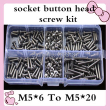 60pcs M5*6 to M5*20 ISO7380 Stainless Steel M5 Hex Socket Button Head Cap Screws Assort Kit(China)