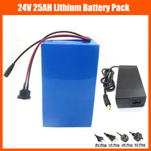 US EU No Tax 24V 500W EBike battery 24V 25AH lithium ion Scooter Battery with PVC case 30A BMS 29.4V 3A charger(China)