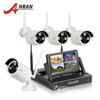 "ANRAN New Listing Plug&Play 4CH Wireless CCTV System 7"" LCD Screen NVR 1TB HDD P2P Cloud View 720P HD Outdoor IR WIFI IP Camera"