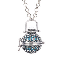 Women Angel Ball Metal Long Chain Necklace Antique Silver Plated Crystal Stone Cage for Pregnant Women and Baby(China)