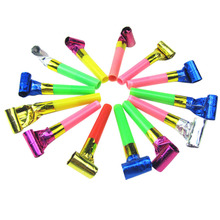 Blowout 10Pcs Colorful Funny Birthday Party Blowing Dragon Blowout Baby Birthday Supplies Toys Gift Whistles Kids Childrens(China)