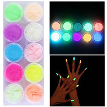 Thinkboo New 10 color/set Nail Glitter luminous nail polish High brightness powder fluorescent paint phototherapy nail art