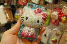 3D hello kitty Blue diamond crystal case bling glitter + phone case for iphone 7 plus case for galaxy s8/s8 plus case(China)