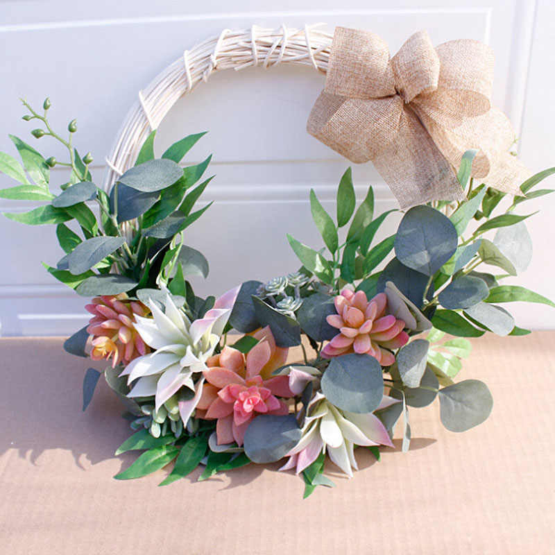 Wedding Decoration Hanging Succulent Artificial Flower Wreath for Home Garden Window Walls Front Door Hanging Flower Garland