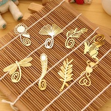4pcs/lot Mini Cute Kawaii Gold Metal Bookmark Paper Clip Antique Butterfly Dragonfly Leaves Flower Bookmarks Korean Stationery(China)