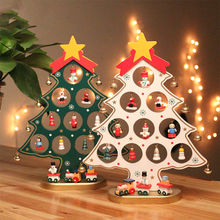 DIY Christmas Ornament Wooden Christmas Tree Christmas Hanging Ornament Gift for Children Home Xmas Table Decoration