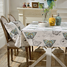 Simanfei Graffit Butterfly Printed Linen Cotton Tablecloth Rectangular Wedding Party Table Cloth Toalha de mesa(China)