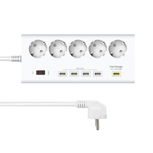 LEORY 5 EU Plug Outlets 4 USB Ports Wall Socket Power Strip 250V 16A Extension Outlets Switch Mains Lead Plug Strip Adapter(China)