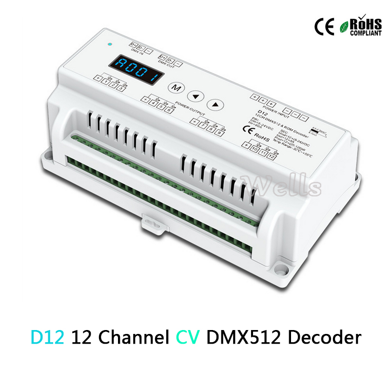 D12 Constant Voltage Led DMX512 Decoder;DC5-24V input;5A*12CH output;Din Rail RGB strip 12 Channel DMX Decoder controller<br>