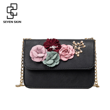 SEVEN SKIN women leather bag female shoulder crossbody bags small women bags flower fashion designers messenger bag with chain
