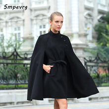 Smpevrg autumn winter 2017 New cashmere coat Female king model women coat and cloak round neck cashmere double fabric overcoats(China)