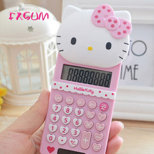 FXSUM New Cute Hello Kitty Basic Electronic Calculator Pink 8 Digitals Calculating School Stationery Portable Calculadora Gifts