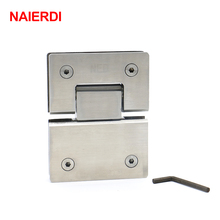 2PCS NAIERDI-4904 180 Degree Hinge 304 Stainless Steel Wall Mount Glass Shower Door Hinges For Home Bathroom Furniture Hardware(China)