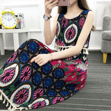 Baharcelin Vestidos 21 colors plus Big size 4XL Sleeveless Vintage Printed Dress Summer Woman Girl Casual Beach Tassel dress