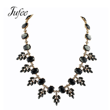 Jufee New Fashion Gold-Color Chain With Green Black Color Stone Leaf Shape Choker Necklace For Women Accessories Jewelery(China)