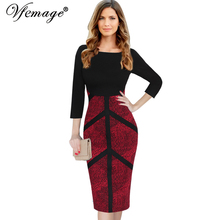 Vfemage Womens Autumn Elegant Vintage Slim Wear To Work Office Business Casual Sheath Fitted Pencil Bodycon Dress 4291(China)