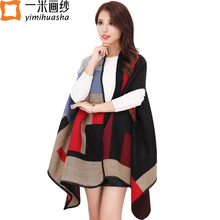 Women winter faux cashmere pashmina shawl fashion boho style plaid thick warm blanket poncho feminino inverno scarves and stoles