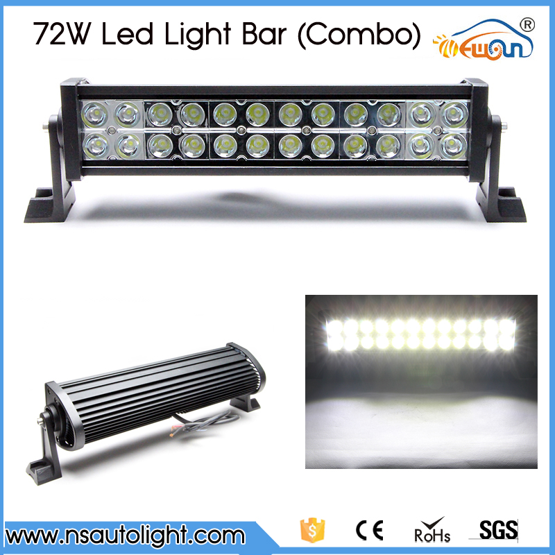 spot /flood/Combo 72w led working lights 12v 72w light bar IP67 for Tractor Truck Trailer Off roads 4X4  led work light<br>