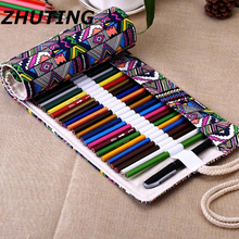 36/48/72 Hole Ethnic Style Pencil Case Stationery Canvas Pen Roll Up Bag Curtain Pencils(China)
