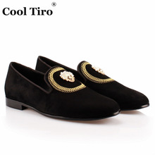 COOL TIRO Fashion Roud Toe Black Kid Suede Handmade loafers Dress Shoes Skull and crossbones Casual Smoking Slippers men Shoes