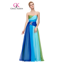 Grace Karin Evening Dresses Plus Size 18W 20W 22W 24W Elegant Long Evening Gowns Chiffon Robe De Mariage Blue Red Formal Dresses