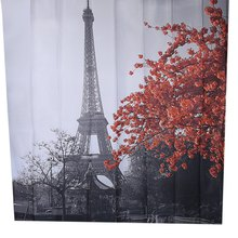 Cityscape Grey Paris Eiffel Tower Red Maple Design Pattern Waterproof Polyester Bath Curtain with 12 Plastic Buckles