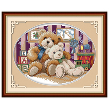 Teddy Bears(1) Patterns Counted Cross Stitch 11 14CT Cross Stitch Sets Wholesale Chinese Cross-stitch Kits Embroidery Needlework(China)