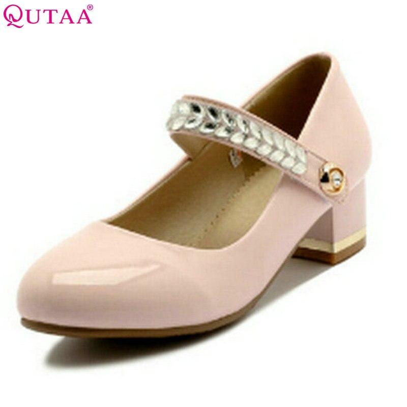 QUTAA 2017 Women Pumps Summer Ladies Shoe Square Med Heel Rhinestone Round Toe PU Leather Woman Wedding Shoes Size 34-43<br>