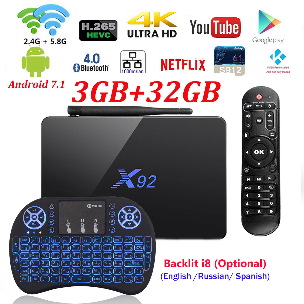 [Genuine] X92 2GB/3GB 16GB/32GB Android 7.1 TV Box Amlogic S912 Octa Core KD player 16.1 loaded 5G Wifi 4K Smart X92 Set top box<br>