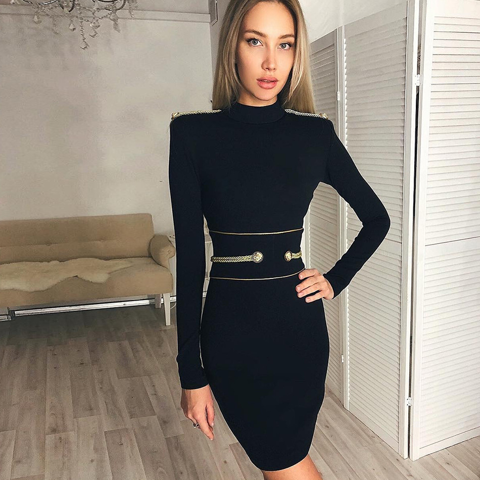 New Arrival Black Women Bandage Dress Long Sleeve O-Neck Sexy Night Out Club Evening Party Mini Bodycon Dress Women Vestidos