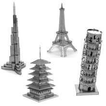 Variety Towers Building Lowest Price 3D Metal Puzzle Eiffel Tower Pisa Tower DIY Assembly Creative Kids Toys Wholesale Toys