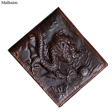 Maillusion Men Wallets 100% Geniuen Leather China Dragon 3D Male Clutch Brand Purse Money Pocket Portfolio Coin Purse Carteira(China)