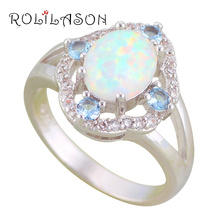 ROLILASON Nobby Blue Zircon White Fire Opal Silver Stamped Ring Fashion Jewelry High Quality Ring USA size #6#7#8#9#10 OR863