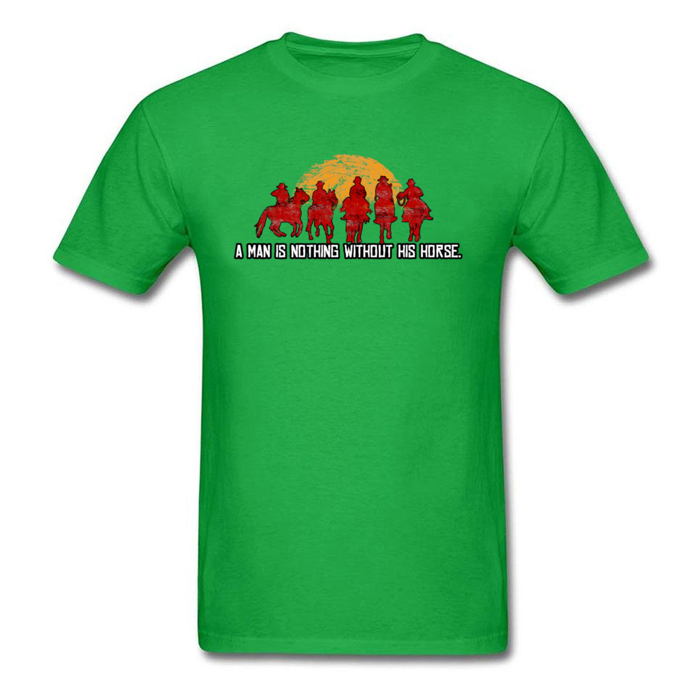 Slim Fit Custom T Shirt for Men Pure Cotton Labor Day Tops Tees Customized Tee-Shirt Short Sleeve Funky O-Neck Red Horse Sunset Nothing Without Horse Red green