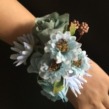Silk Flower Wedding Bridal Bridesmaid Girl Hand flowers Bride Wrist Corsages Blue Ivory Pink Flower Party Decoration(China)