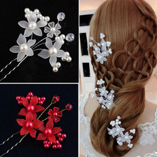 Hot Sale Women Wedding Hair Accessories Bridal Bridesmaid Hair Fashion Crystal Pearl Headpiece Hair Pin Hair Retro Jewelry Gifts(China)