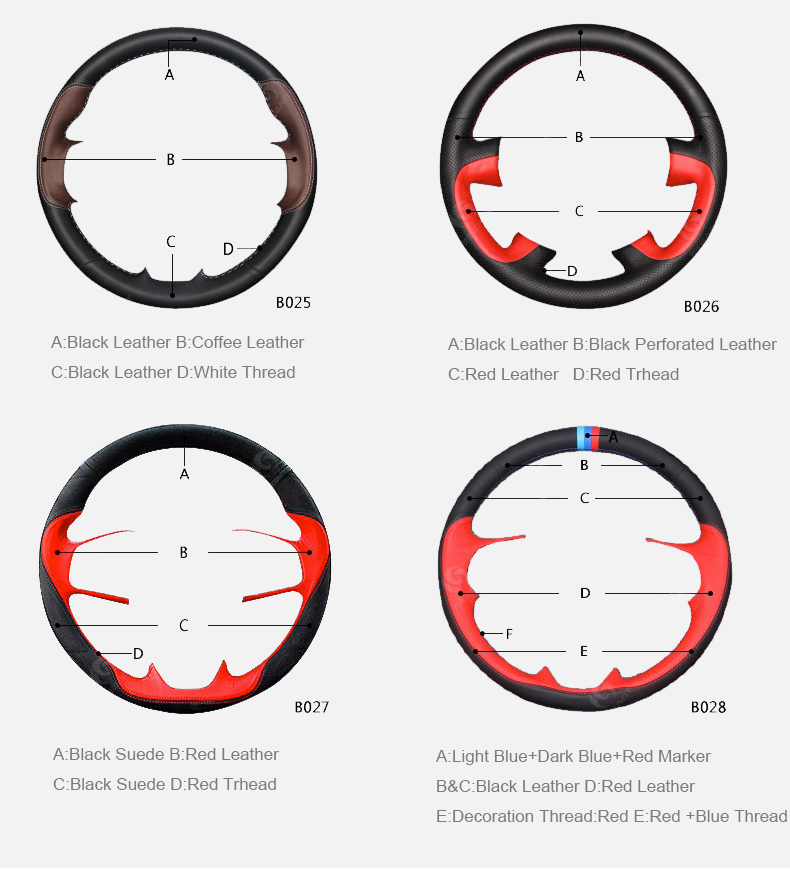 genuine leather customization steering wheel cover 05