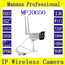 New 720P Wireless IR IP Camera Support up to 64 wireless 433MHz alarm sensors, One key arming and disarming,128GB TF card J0650