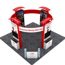 20ft Portable Fabric Trade Show Displays Pop Up Stand Booth Sets with Podiums TV Brackets Lights Custom Graphic Printing(China)