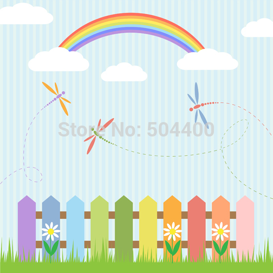 Art fabric backdrop photography background colorful wooden fence &amp; rainbow backdrop D-710<br><br>Aliexpress