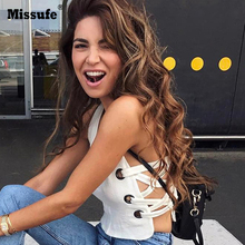 Missufe Sexy Split Lace Up Camisole Women V Neck Autumn Tank Top Slim White Vest Top(China)