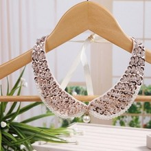 Diy holographic sequins striped fake sequins collar  necklace false collar necklace collar necklace collarcrystal sequins