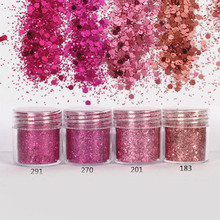 4PCS Rose Nail Fine Glitter Powder Nailart Holographic Glitter Powder for Nail Dust Paillettes Round Glitter Pulver SF0020(China)