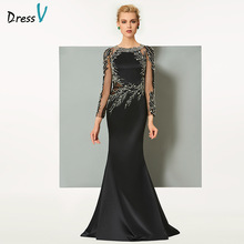 Dressv black long evening dress elegant scoop neck sweep train long sleeveless wedding party formal dress sheath evening dresses(China)