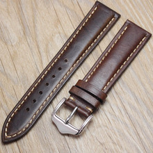 Watchbands Retro Genuine Leather Brown Men 20mm 22mm 24mm Soft Watch Band Strap Metal Pin Buckle Accessories Relojes Hombre 2016