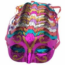 12 pcs/lot, Gold shining plated party mask wedding props masquerade mardi gras mask mascaras venecianas para fiestas fx196(China)