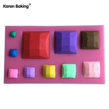 Square Stone Shape 3D Fondant Silicone Cake Lace Mold Tools Bakeware  ---C615